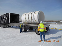 February 2014 - Section of sewer pipe arrives onsite
