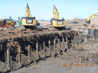 March 2014 - Former timber piles removed as part of excavation